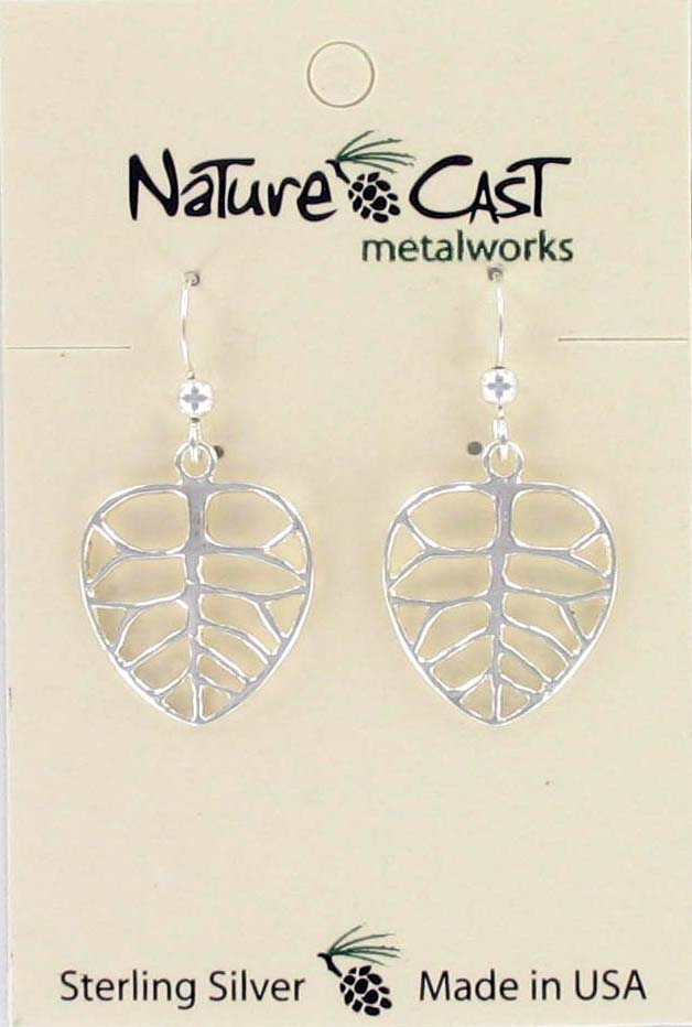 Earring dangle leaf sterling silver THUMBNAIL
