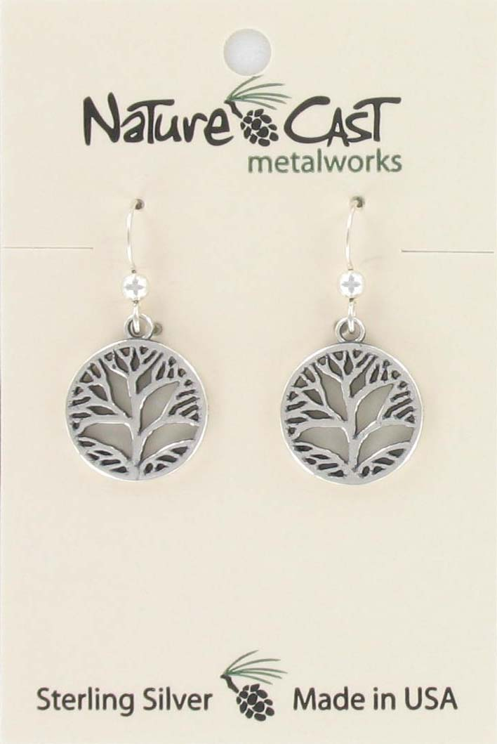 Earring dangle leaf in circle sterling silver THUMBNAIL