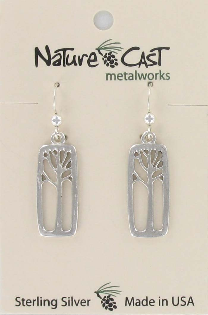 Earring dangle sterling silver tree in rectangle