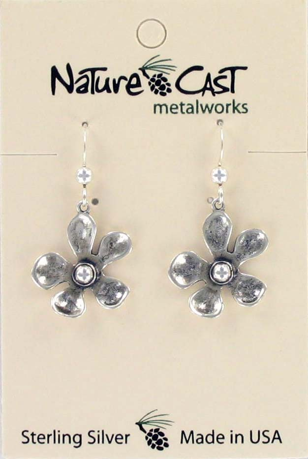 Earring dangle flower without gold sterling silver THUMBNAIL