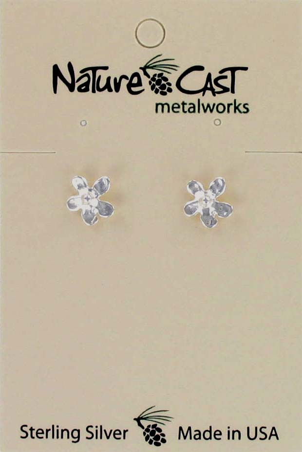 Earring post flower without gold sterling silver THUMBNAIL