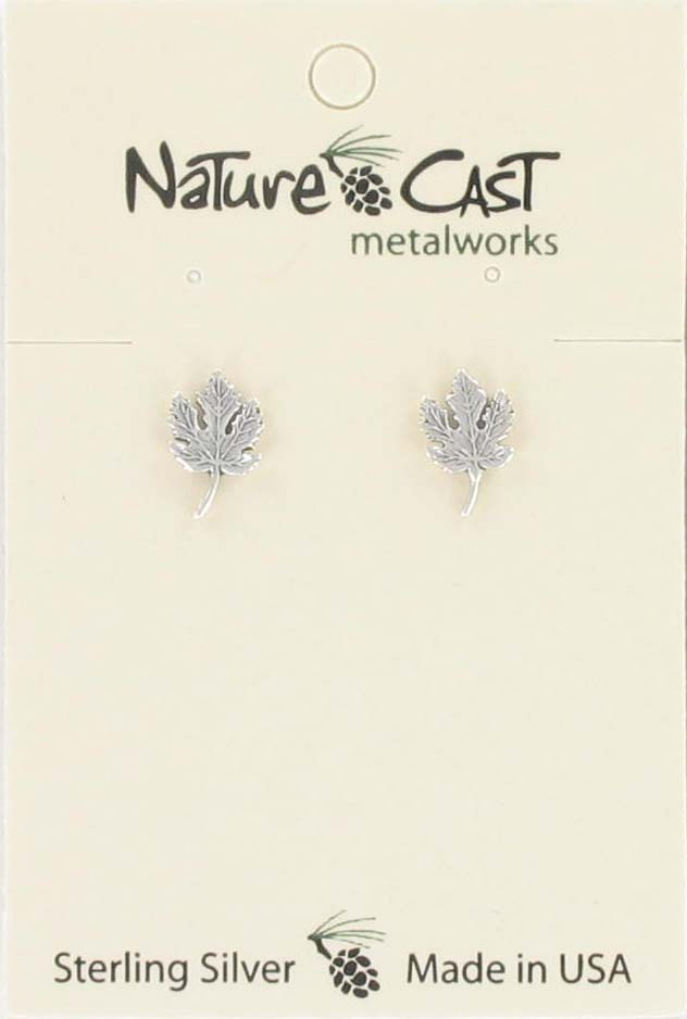 Earring post maple leaf sterling silver