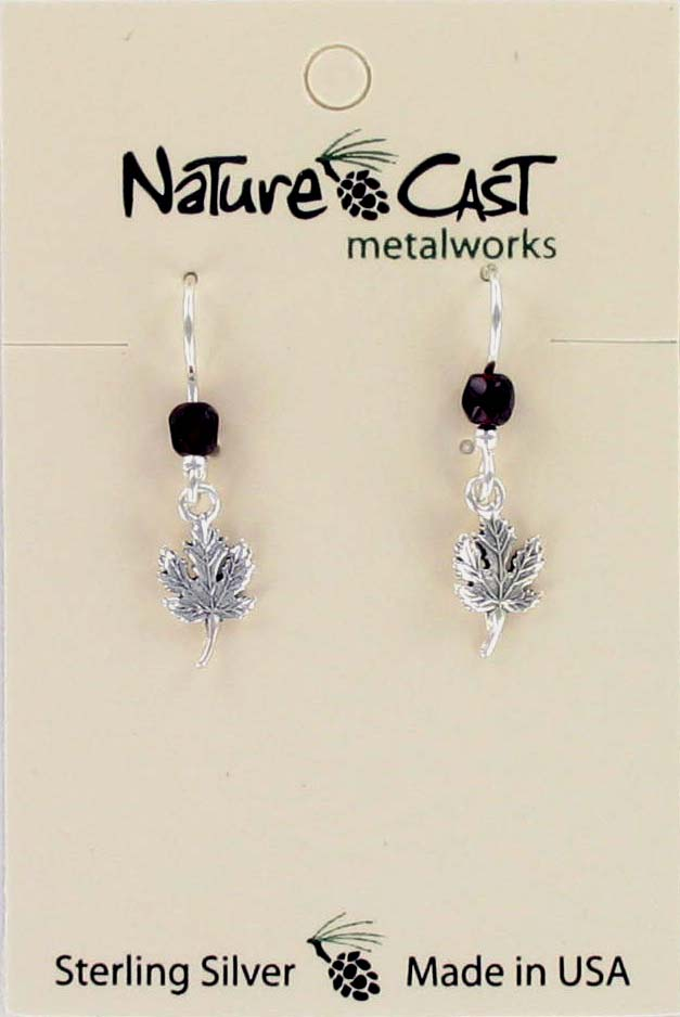 Earring dangle maple leaf sterling silver