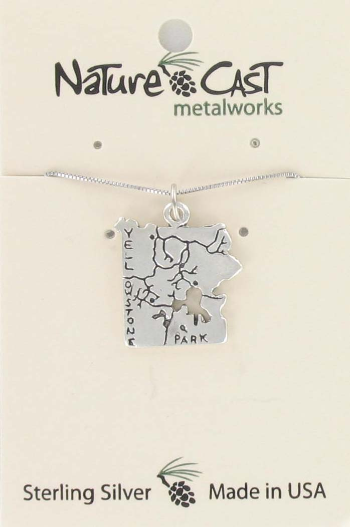 "Pendant sterling silver Yellowstone map w / 18"" chain MAIN"