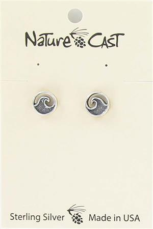 Earring post sterling silver wave LARGE