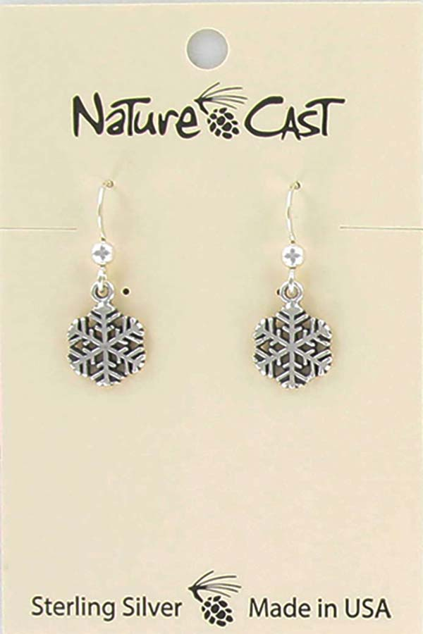 Earring dangle sterling silver small snowflake LARGE