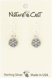Earring dangle sterling silver small snowflake THUMBNAIL