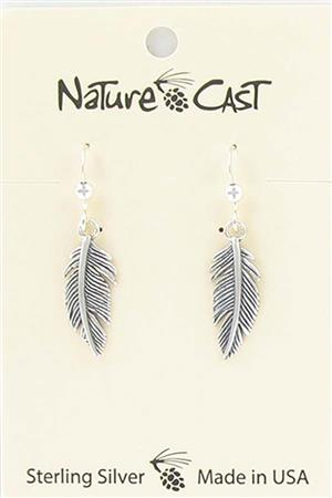 Earring dangle sterling silver feather LARGE