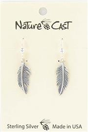 Earring dangle sterling silver feather THUMBNAIL