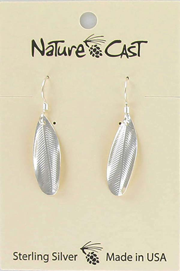Earring dangle sterling silver feather imprint LARGE