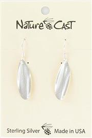 Earring dangle sterling silver feather imprint THUMBNAIL