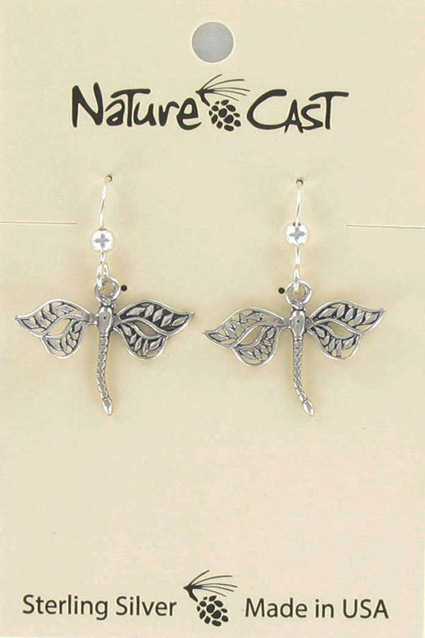 Earring dangle sterling silver dragonfly THUMBNAIL