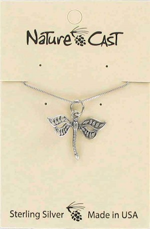 "Pendant sterling silver dragonfly w/18"" chain LARGE"