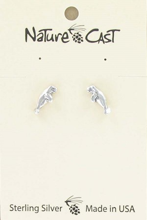 Earring post sterling silver manatee LARGE