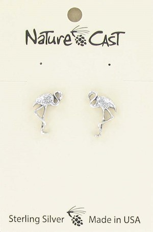 Earring post sterling silver flamingo LARGE