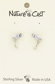 Earring post sterling silver flamingo THUMBNAIL