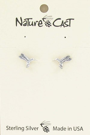 Earring post sterling silver hummingbird LARGE