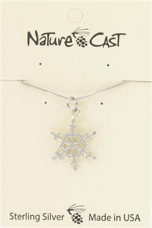 "Pendant sterling silver snowflake w/ 18"" chain MAIN"