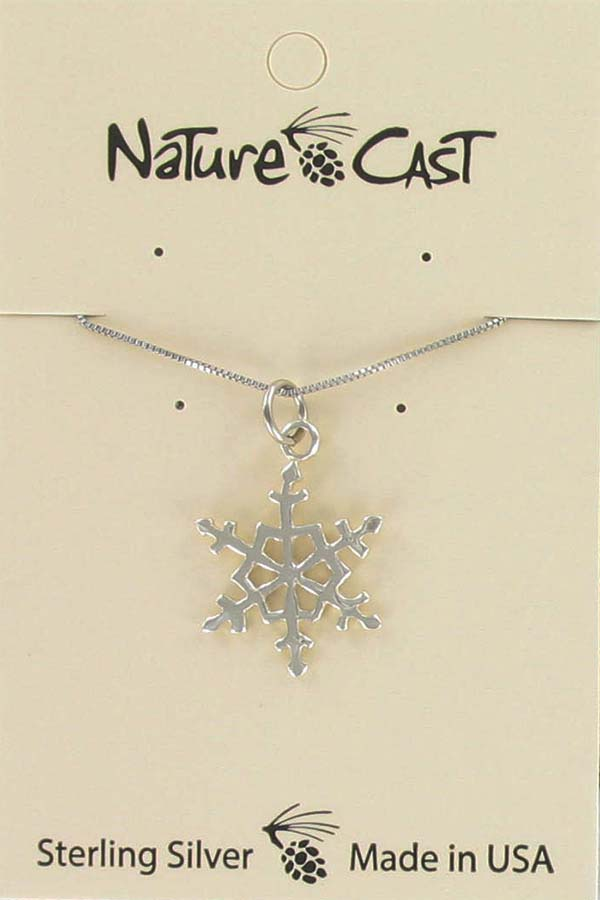 "Pendant sterling silver snowflake w/ 18"" chain LARGE"