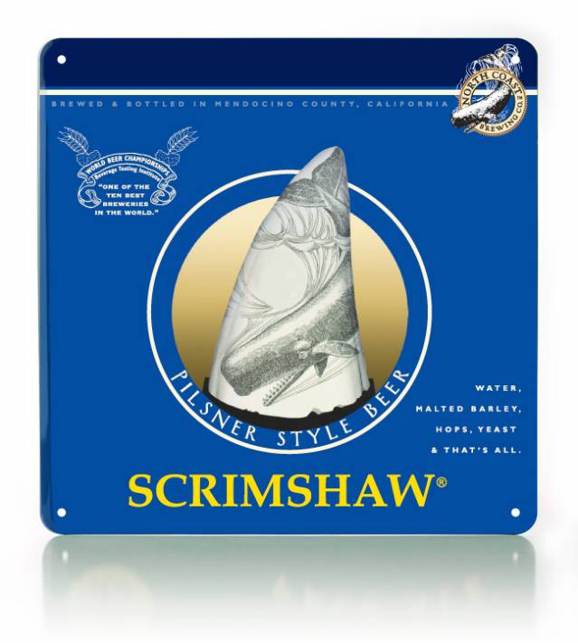 Scrimshaw Metal Sign