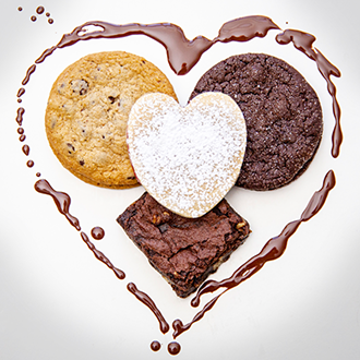 Fudgy Brownies, Jam Filled Hearts, Chocolate Chip and  Chocolate Espresso Cookies. All vegan THUMBNAIL