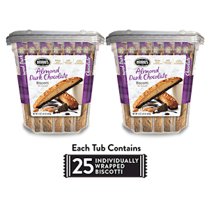Two 33.25 oz. Tubs of Almond Dark Chocolate Biscotti LARGE
