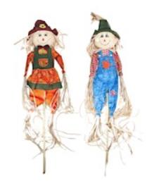 "60"" boy girl scarecrow on pole THUMBNAIL"