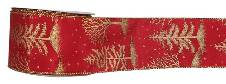 #40 Wired Ribbon - Gold Trees on Red Linen THUMBNAIL