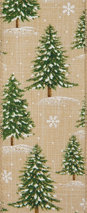 Natural Snowy Trees Wired Ribbon MAIN