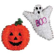 Tinsel Ghost & Pumpkin Decor THUMBNAIL