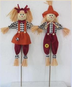 "36"" Black and White Checked Scarecrows_MAIN"