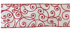 #40 Wired Ribbon with Red Shimmer Flourishes MAIN