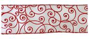 #40 Wired Ribbon with Red Shimmer Flourishes THUMBNAIL