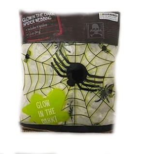 Glow In The Dark Spider Webbing with 4 Spiders MAIN