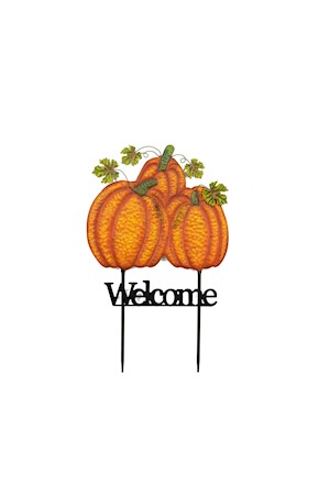 "22"" Triple Pumpkin Welcome Stake MAIN"