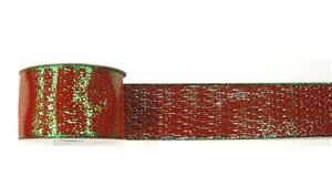 #40 Wired Ribbon Red/Green Woven Metallic MAIN