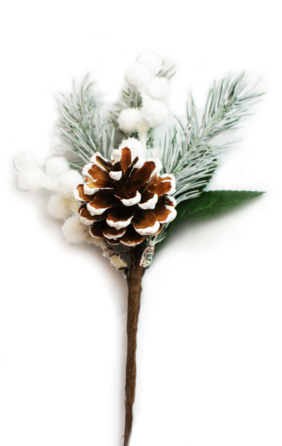 Flocked Pinecone pick with Pine and Snow Berries MAIN