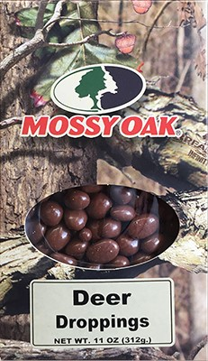 11oz box of Mossy Oak Deer Droppings (Chocolate Peanuts)