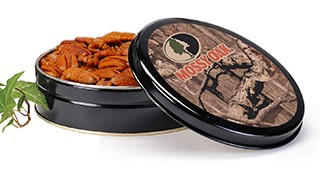 8 oz. Mossy Oak Tin Honey Crisp Pecans LARGE