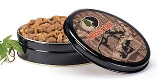 10 oz Mossy Oak Tin Bourbon Praline Pecans LARGE