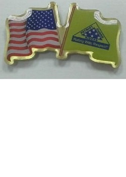 US & Logo Flags Pin