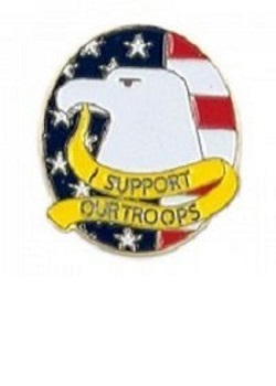 I Support Our Troops Eagle Pin