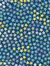 "Windham Fabrics ""Cubby Bear Flannel"" # 52383-5 - Multi Color Stars on Dark Blue THUMBNAIL"