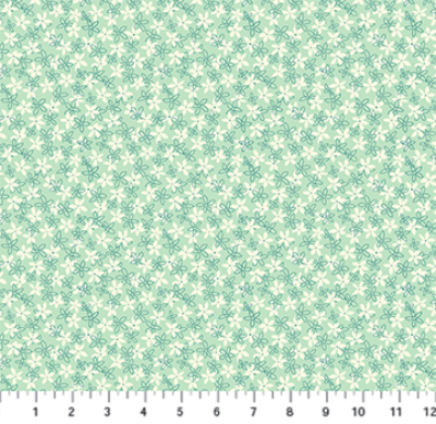 "Figo Fabric ""Primavera"" # 90319-60 Mint – White and Green Flowers on Green MAIN"