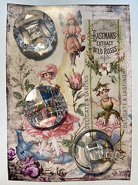 "VINTAGE 3 Glass Buttons on ""Eastmans Extract"" card THUMBNAIL"