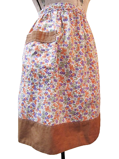 Vintage Apron—Floral Print with Brown Trim MAIN