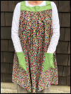 Popover Pinafore Apron — Small Floral with Green Accent Fabric SWATCH