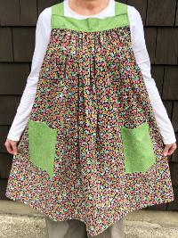 Popover Pinafore Apron — Small Floral with Green Accent Fabric THUMBNAIL