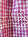 Vintage Apron—Fuchsia and White Plaid with White Stitching SWATCH