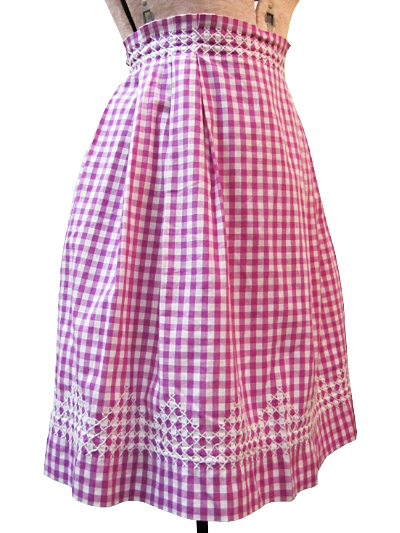 Vintage Apron—Fuchsia and White Plaid with White Stitching MAIN